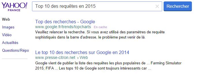 Top 10 des requêtes sur Yahoo en 2015