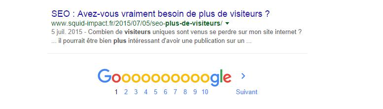 10ème résultat d'une requête sur Google